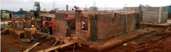 Brick work for superstructure walls paediatric ward and maternity 65%.
